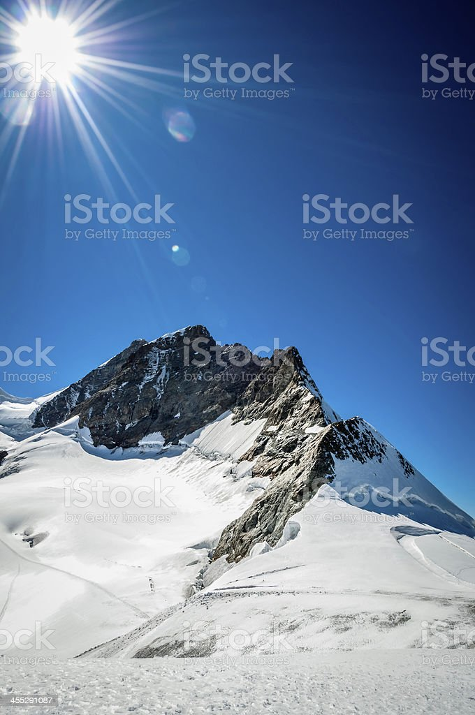 Summit of Jungfrau from Jungfraujoch stock photo