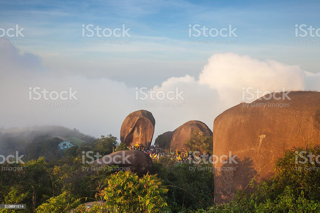 Summit of Khao Khitchakut Mountain at Sunrise stock photo