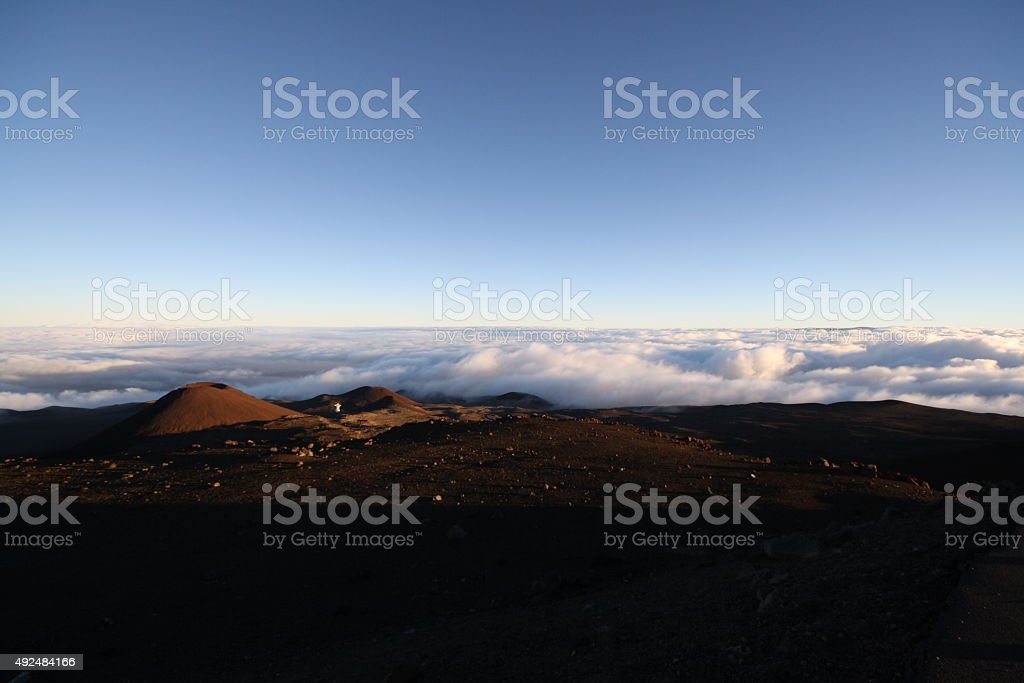 Summit of Mauna Kea above the clouds royalty-free stock photo