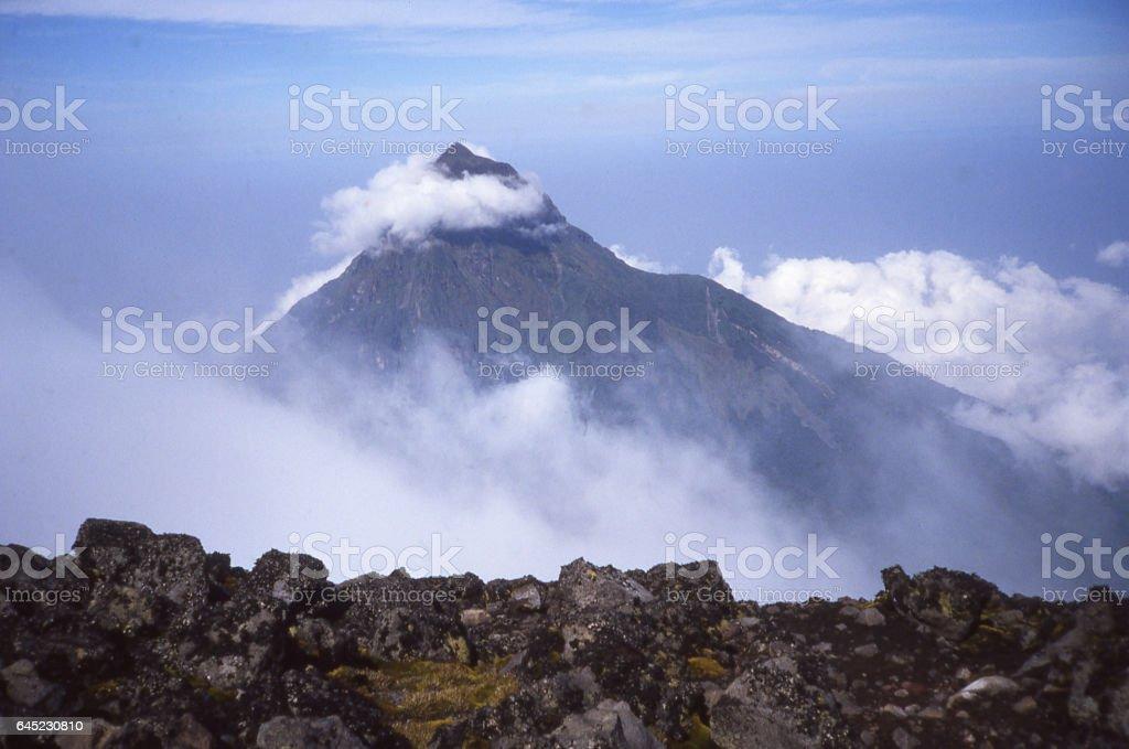 Summit of Mount Karisimbi and Mikeno Volcano Democratic Republic Congo stock photo