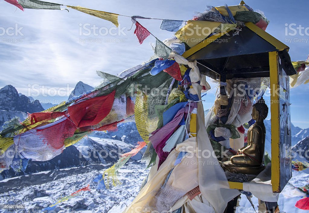 Summit of mountain Gokyo Ri. Himalayas stock photo