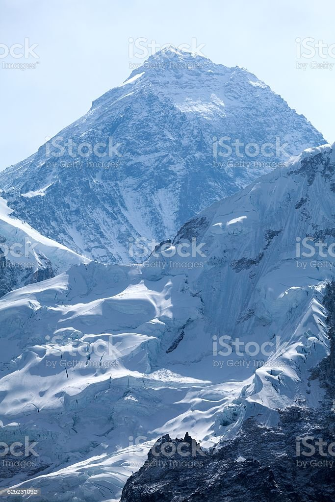 Summit of mt. Everest from Kala Patthar, Solu Khumbu, Nepal stock photo