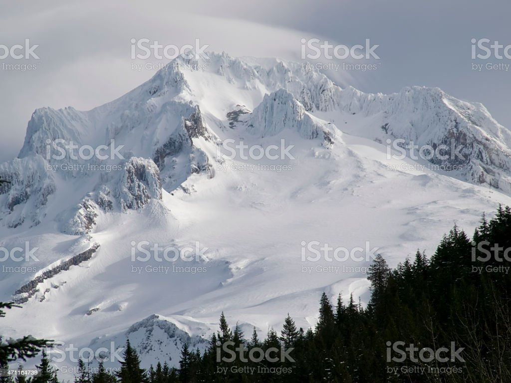 Summit of Mt Hood Oregon with snow clouds and trees royalty-free stock photo