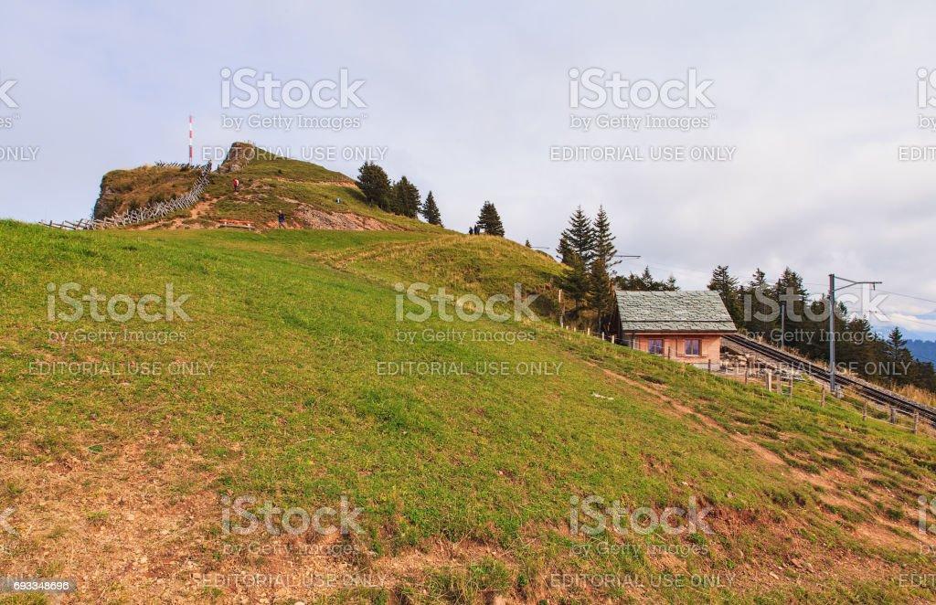 Summit of Mt. Rigi in Switzerland on an overcast day in autumn stock photo