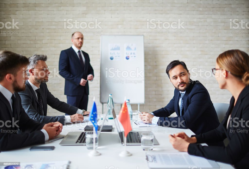 Summit of political leaders stock photo