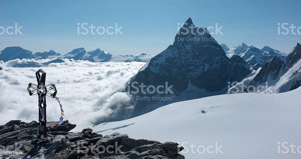 Summit of Tete Blanche and Matterhorn stock photo