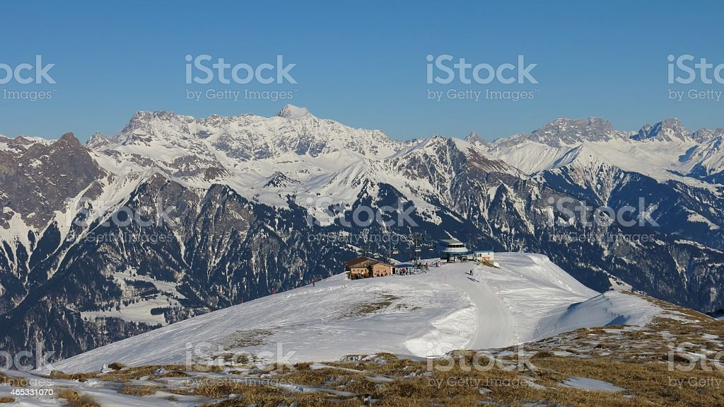 Summit station of a chair lift stock photo