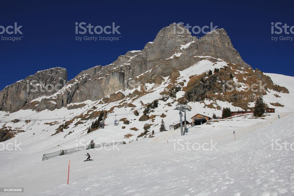 Summit station of the Gumen cable car in Braunwald, Swiss Alps. stock photo