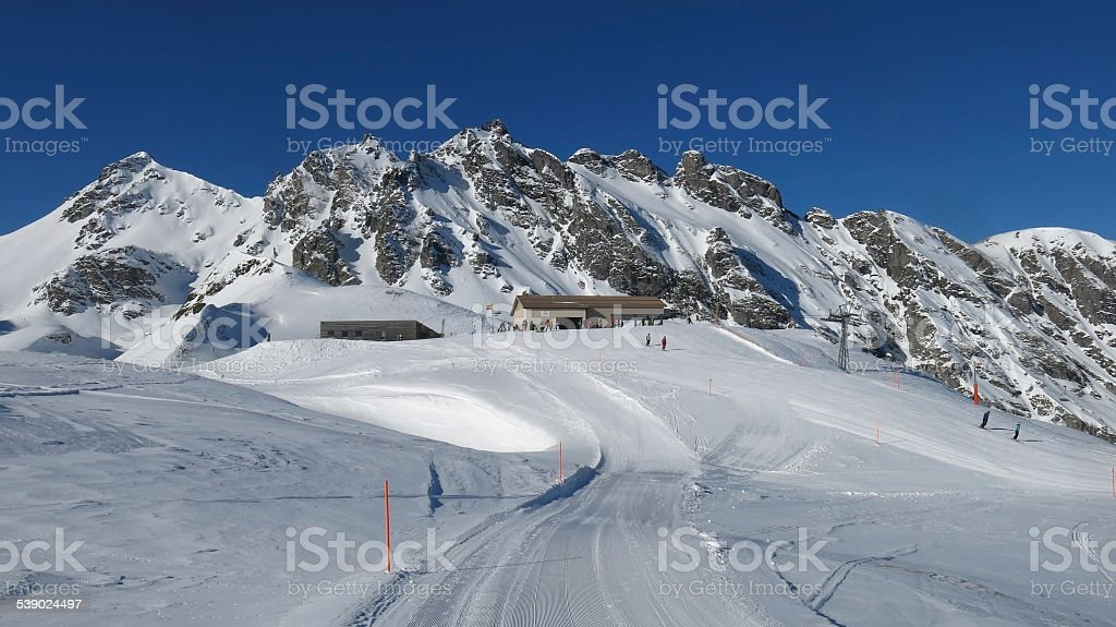 Summit station of the Pizol chair lift stock photo