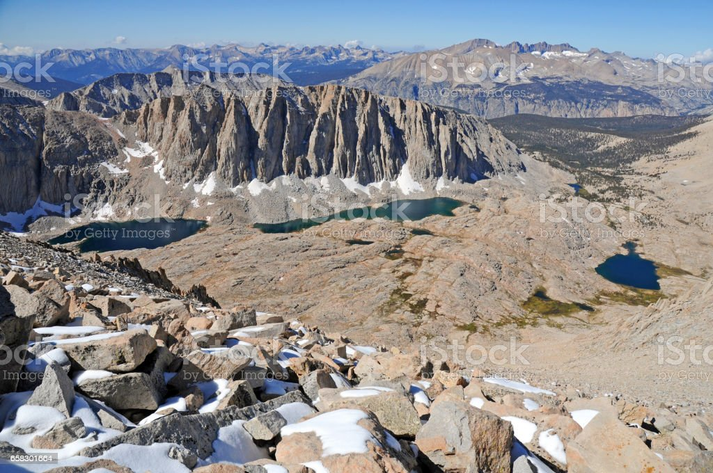 Summit view from Mount Whitney, California 14er, state high point and highest peak in the lower 48 states, located in the Sierra Nevada Mountains stock photo