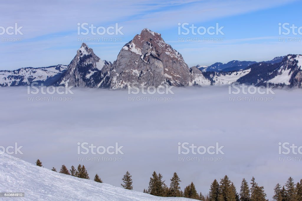 Summits of Kleiner Mythen and Grosser Mythen mountains in winter stock photo