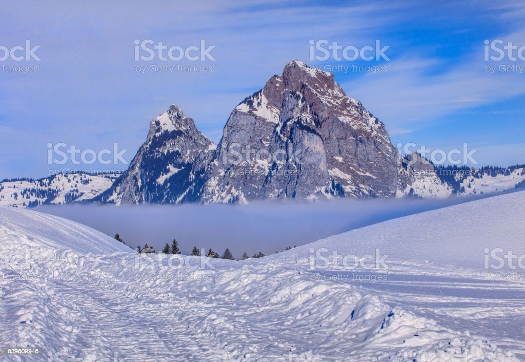Summits of the Kleiner Mythen and Grosser Mythen in winter stock photo