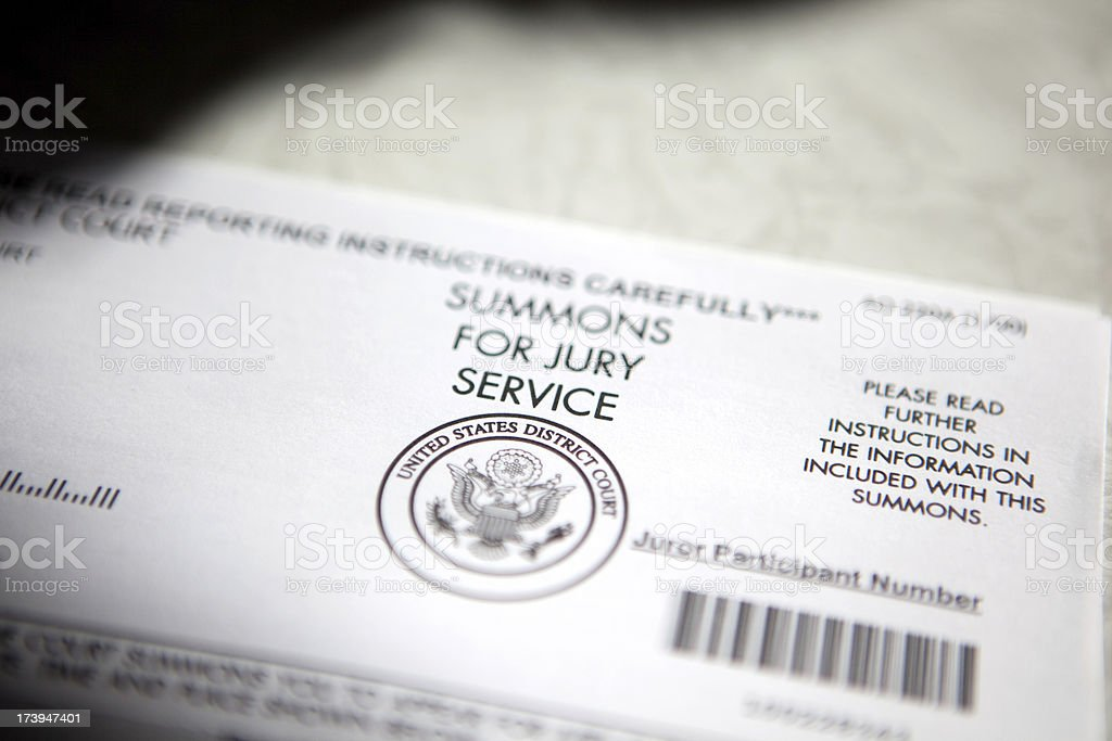 Summons for jury service in district court stock photo