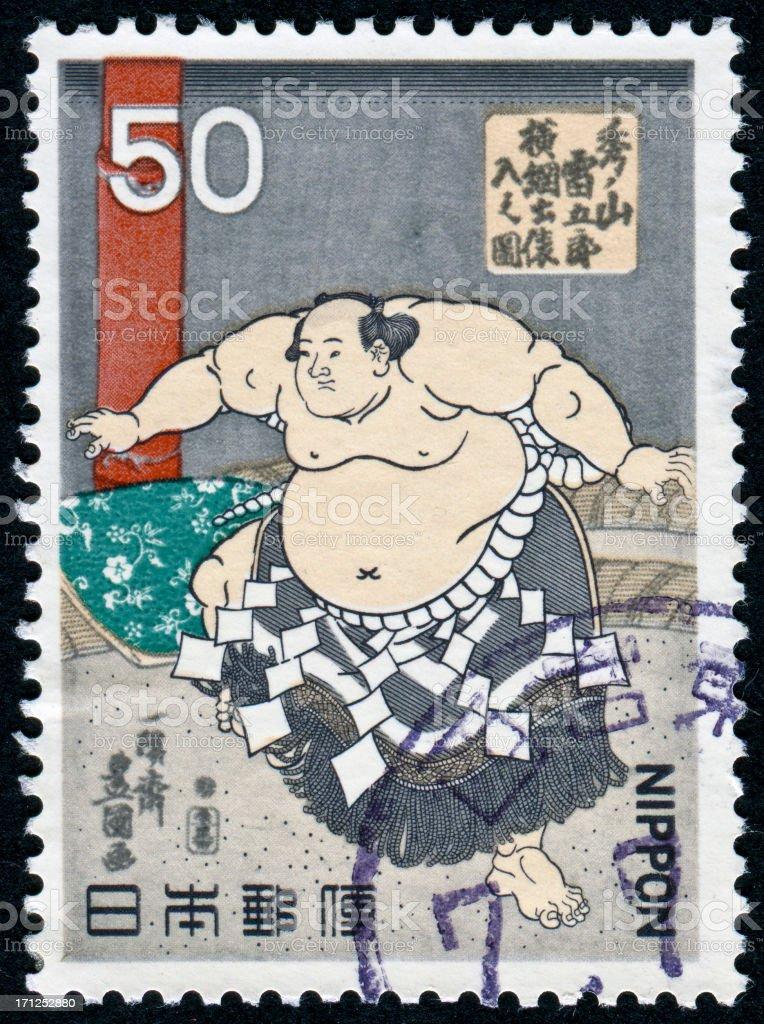 Sumo Wrestler Stamp stock photo