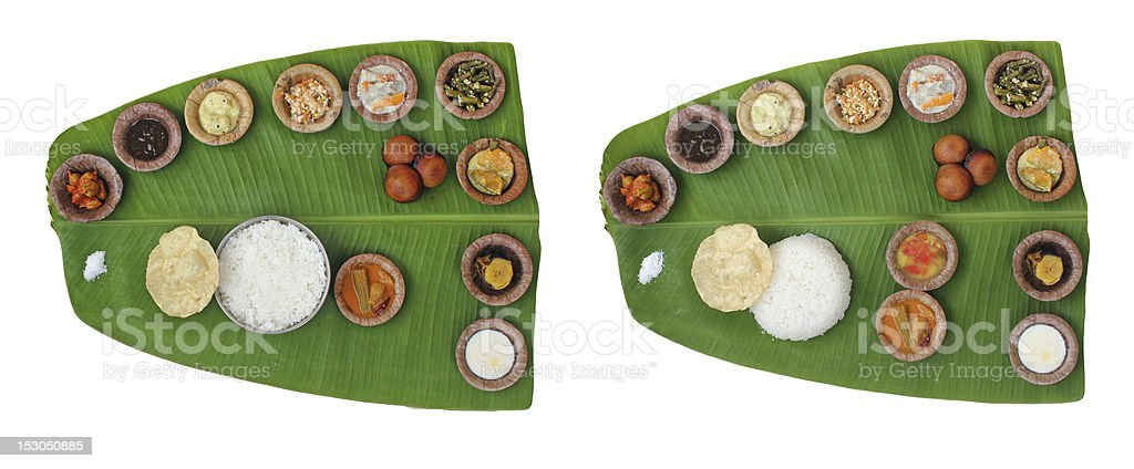 Sumptuous and wholesome onam meals called sadhya in kerala stock photo
