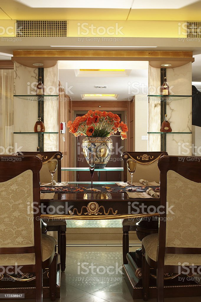 sumptuous Living Room with luxury dining table royalty-free stock photo