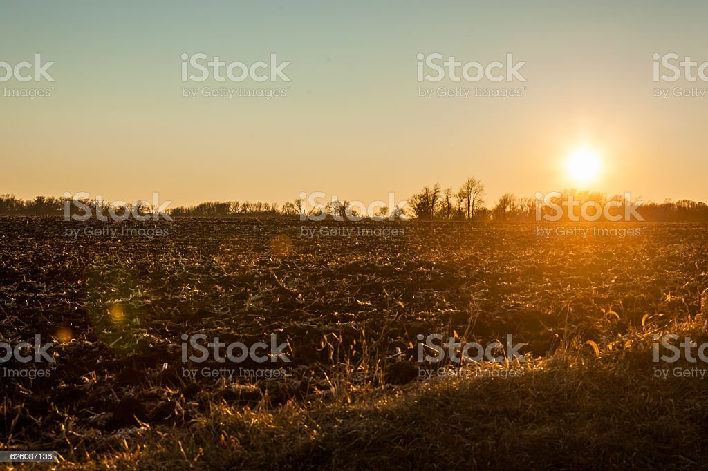 Sumrise over fallow field stock photo