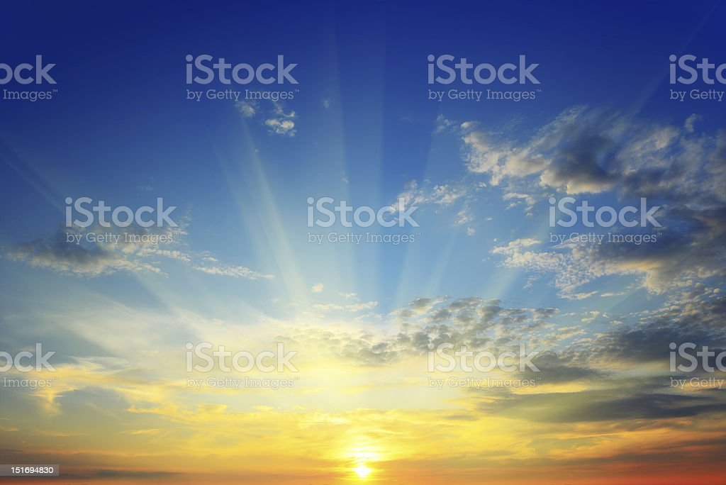 sun above the horizon stock photo