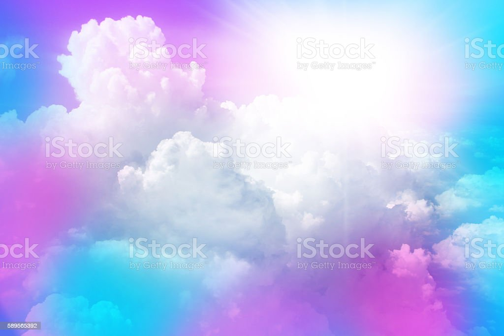 sun and cloud background with sweet color stock photo