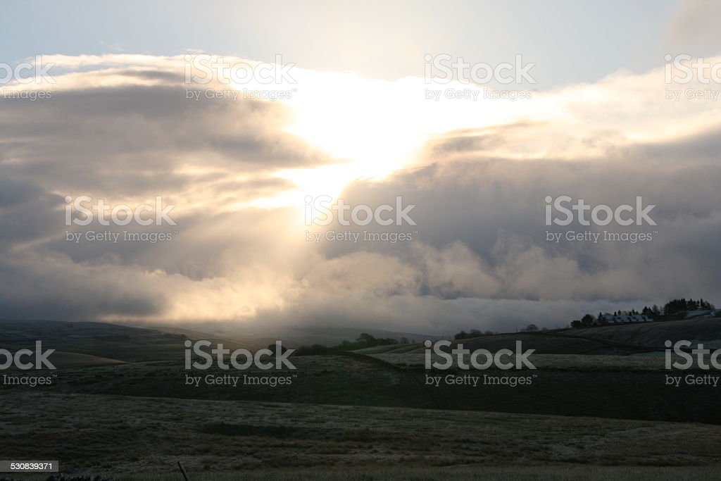 Sun and Clouds over Ribblesdale stock photo