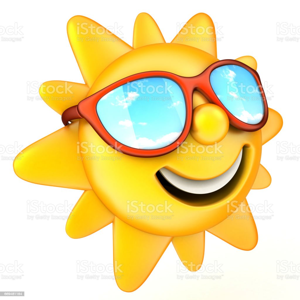 Sun and glasses stock photo