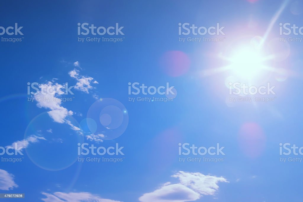 Sun and lens flare stock photo