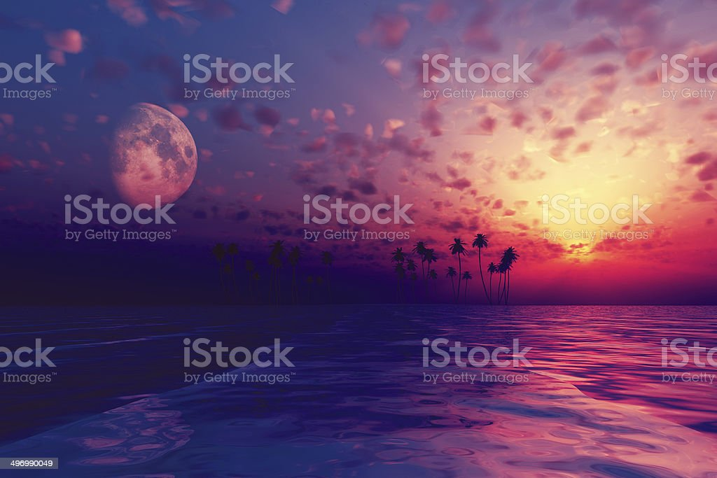 sun and moon behind island stock photo