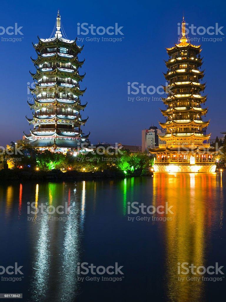 Sun and Moon Pagodas, Guilin, China stock photo