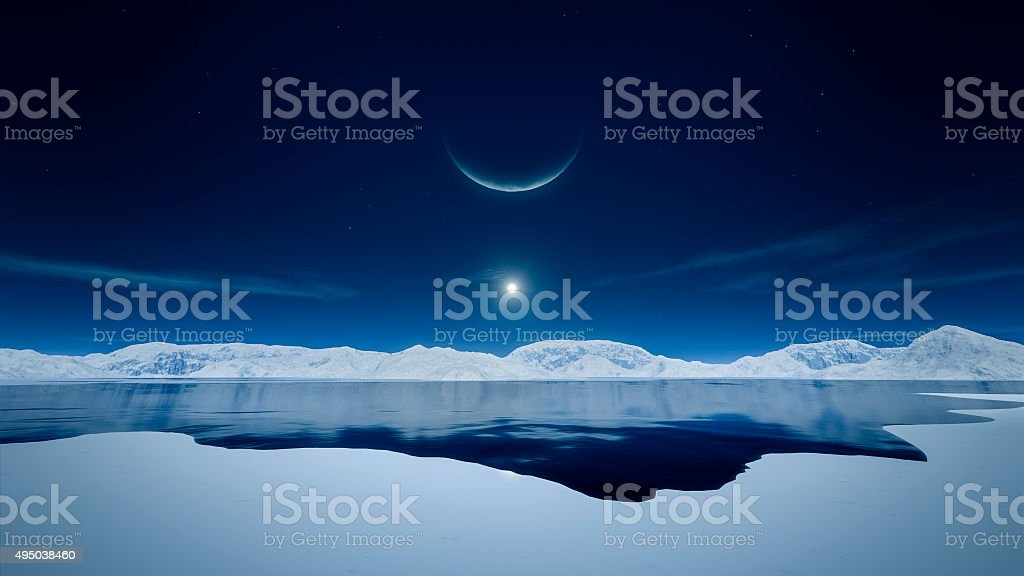 sun and moon stock photo