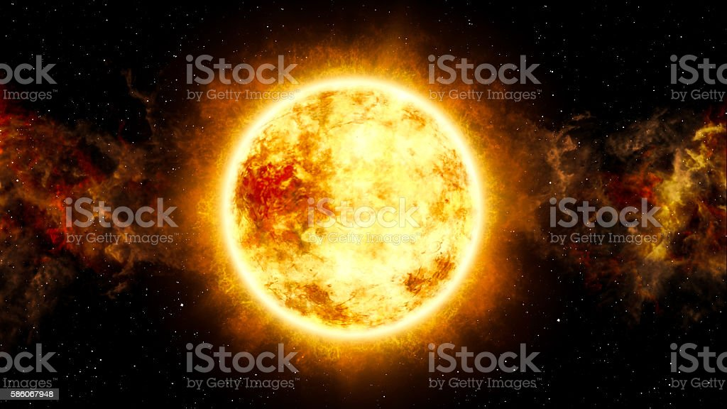 Sun and Star with Cosmic Cloud in Space stock photo