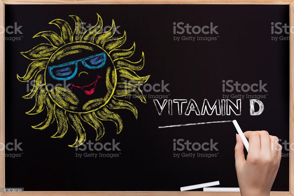 Sun and Vitamin D written on blackboard stock photo