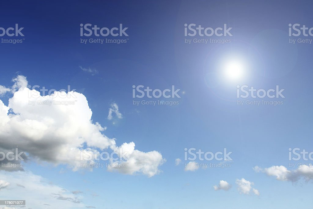 sun and white cloud stock photo
