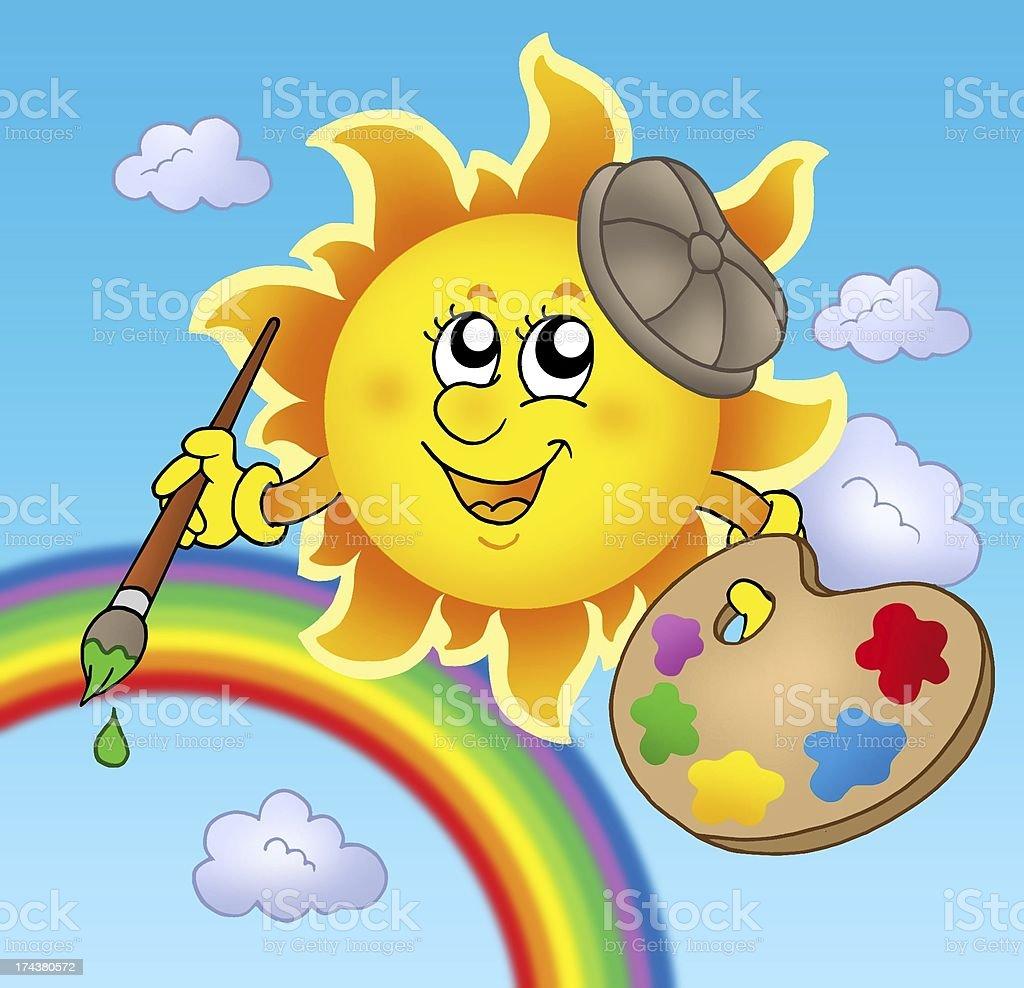 Sun artist with rainbow royalty-free stock photo