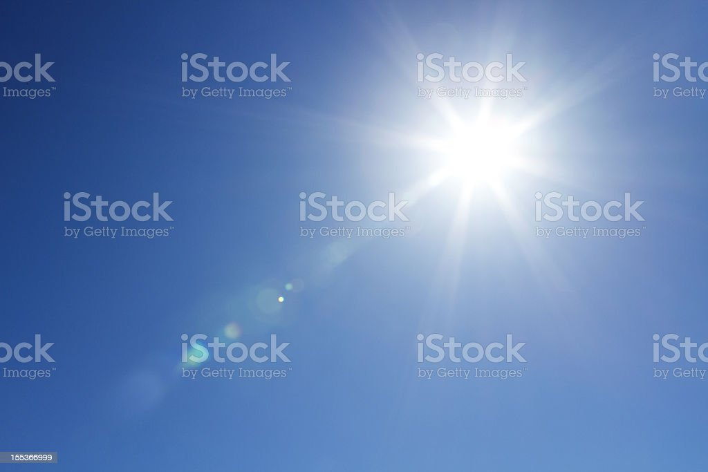 Sun at the sky with copy space stock photo