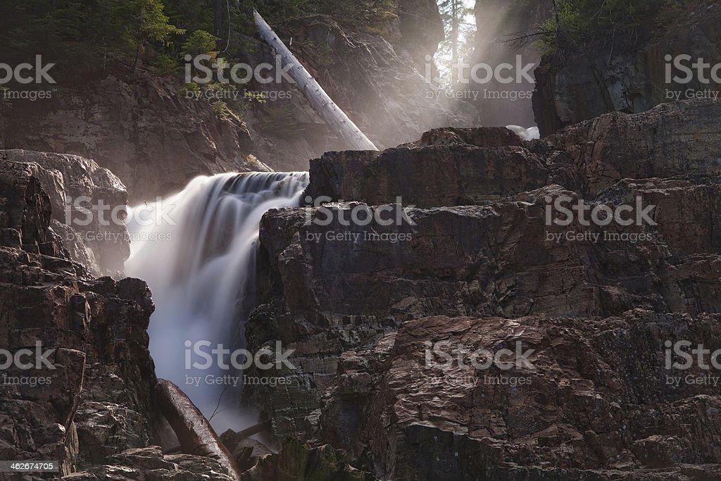 Sun beams and waterfalls royalty-free stock photo