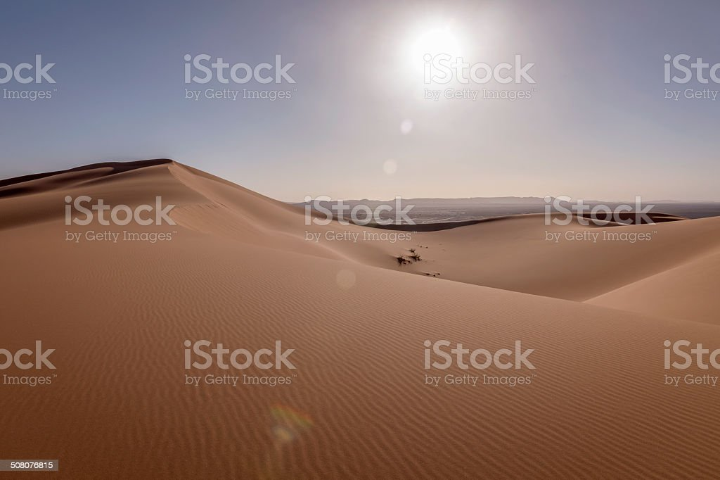Sun Beams at Erg Chebbi Sand Dunes, Morocco,  Africa stock photo