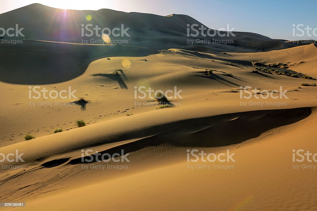 Sun Beams at Erg Chebbi Sand Dunes, Morocco,North  Africa stock photo
