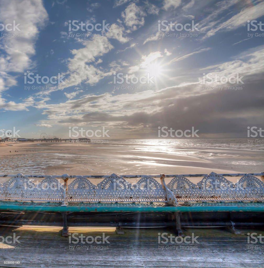 Sun Beams on the Pier. stock photo