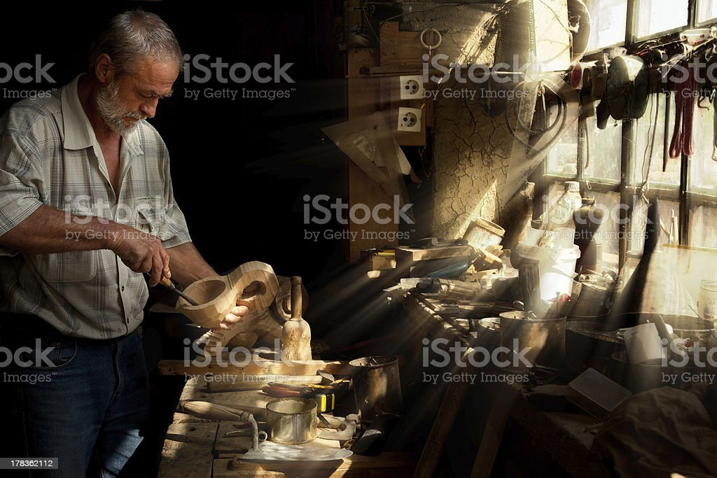 Sun beams shining on carpentry stock photo