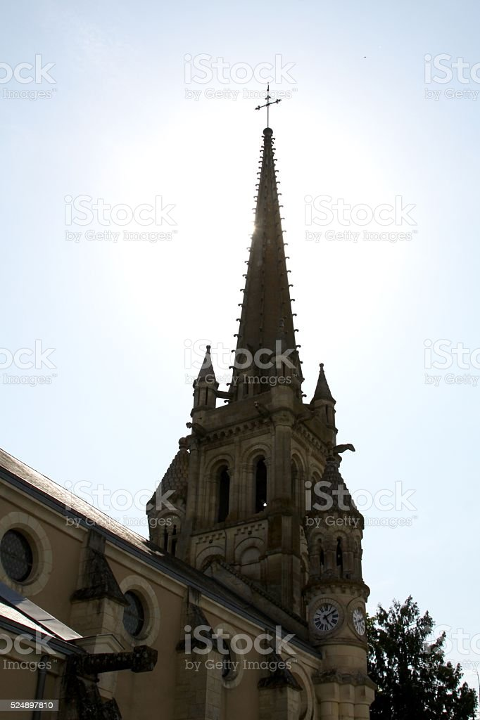 Sun Behind Church Steeple stock photo