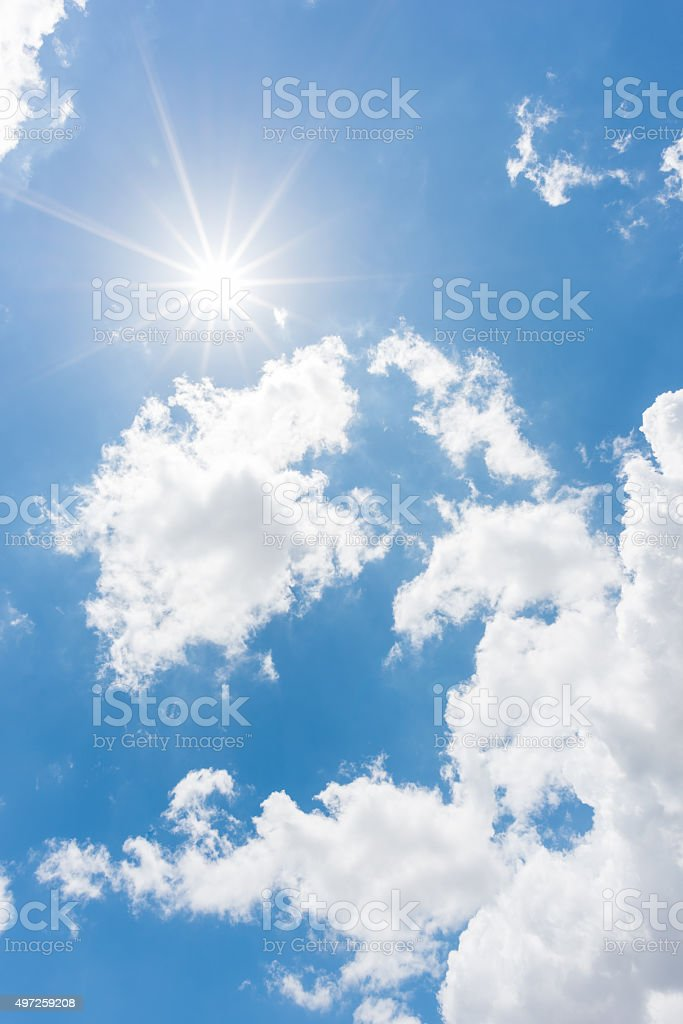 Sun, blue sky stock photo