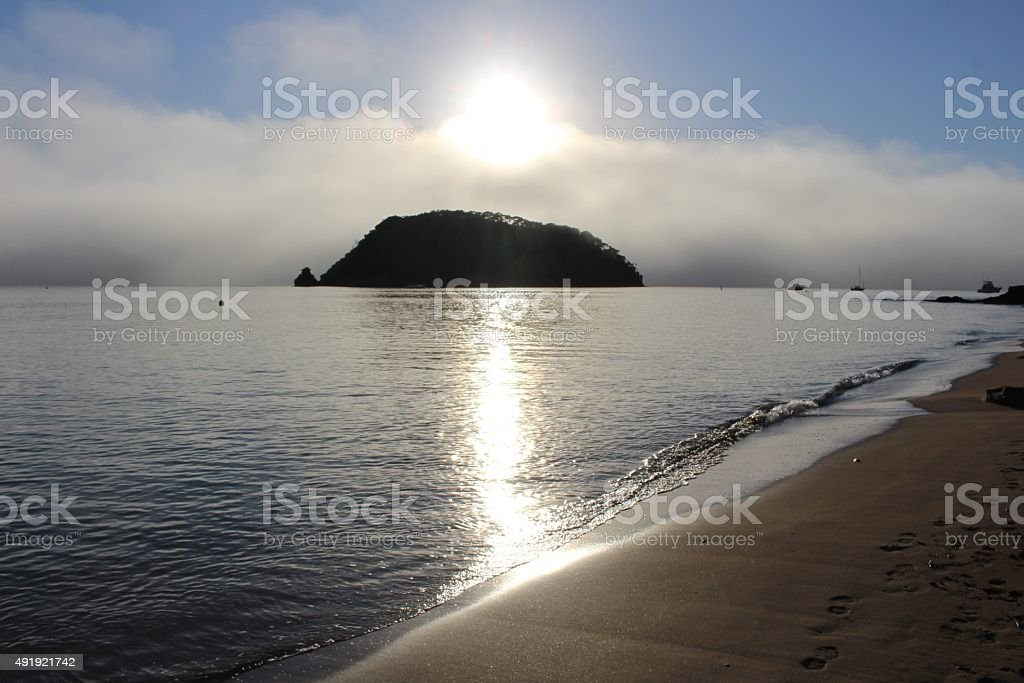 Sun burning through the fog stock photo