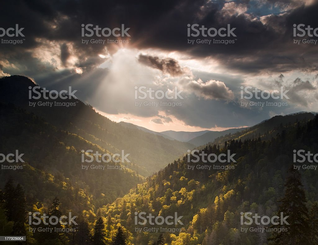 Sun Burst in the Mountains royalty-free stock photo