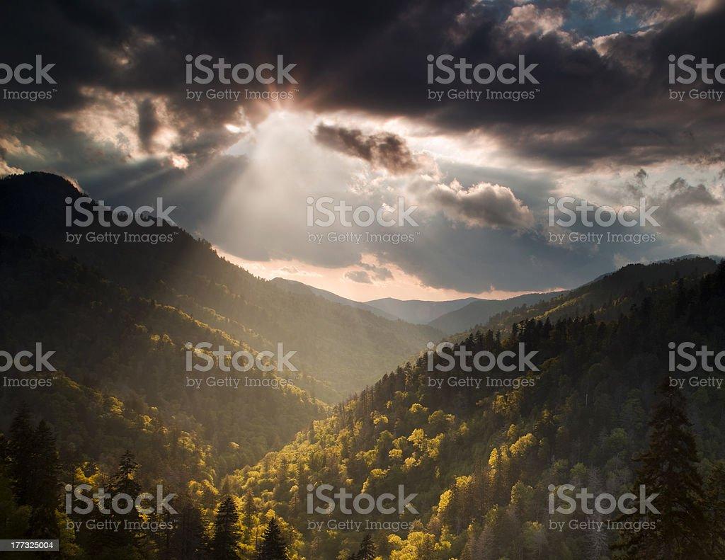 Sun Burst in the Mountains stock photo