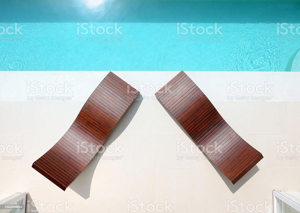 Sun Chairs, Luxury Private Pool Villa (XXXL) royalty-free stock photo