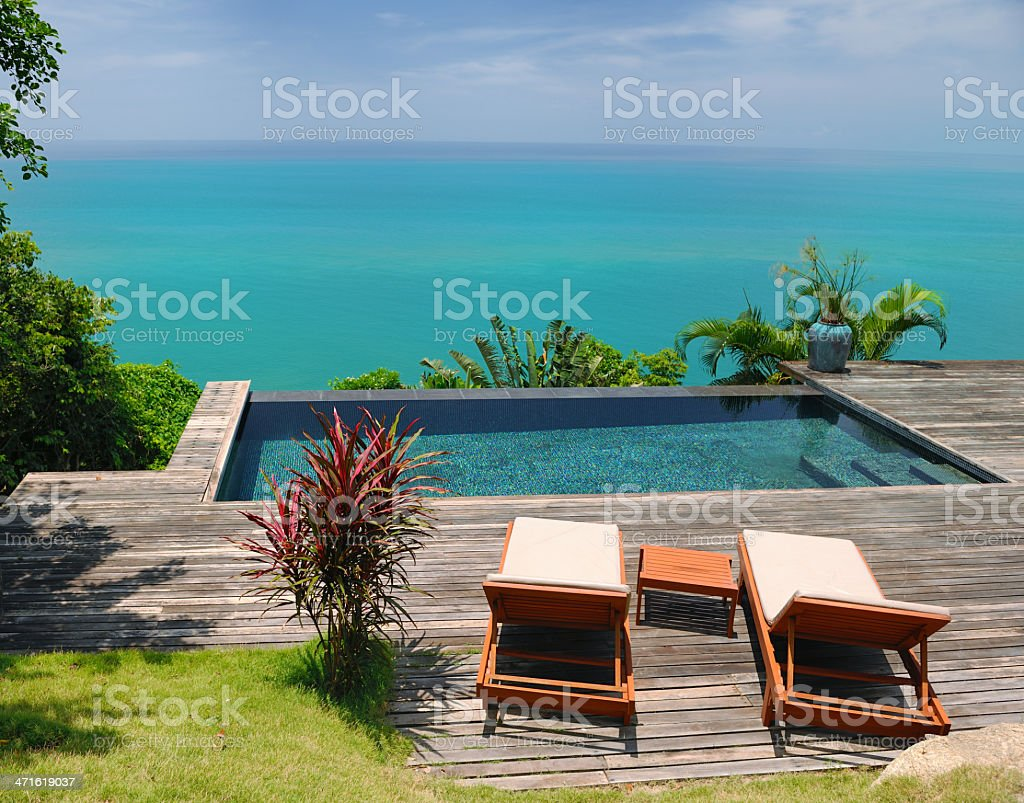 Sun Chairs, Luxury Private Pool Villa royalty-free stock photo