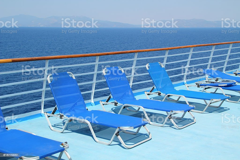 sun chairs on a cruise ship stock photo