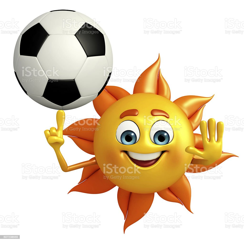 Sun Character With football royalty-free stock photo