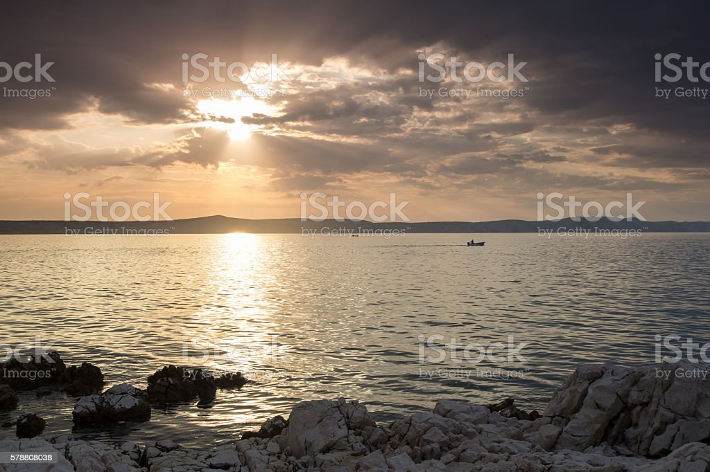Sun, clouds, sea stock photo