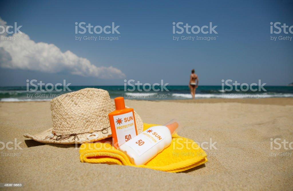 Sun Cream Protection on a Beach stock photo